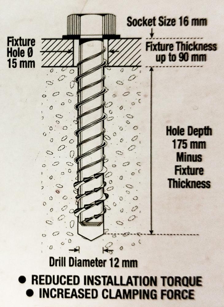 Rubber Wheelstop FIXINGS for CONCRETE (x3) 12x150mm 16mm SOCKET