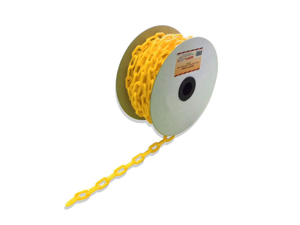 Plastic Safety Chain - LEMON YELLOW 6mm x 25 metre roll