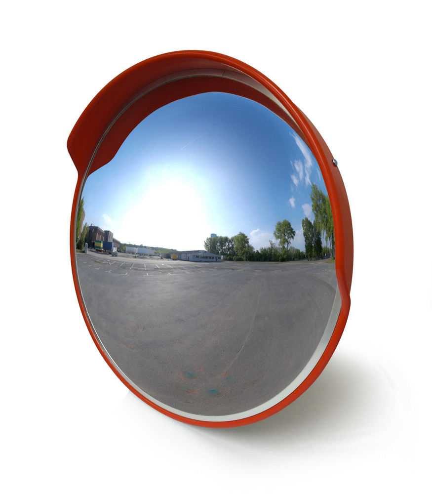 Convex Mirror 600mm OUTDOOR polycarbonate face includes wall bracket