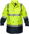 Long Wet Weather Jacket YLW/NVY 3M Reflective (2XLarge)