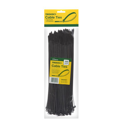 TRIDON CABLE TIES BLACK 200x4MM - PK100