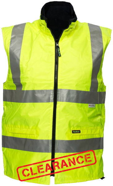 Hi Vis Reversible Waterproof Vest YLW 3M Reflective (Small)