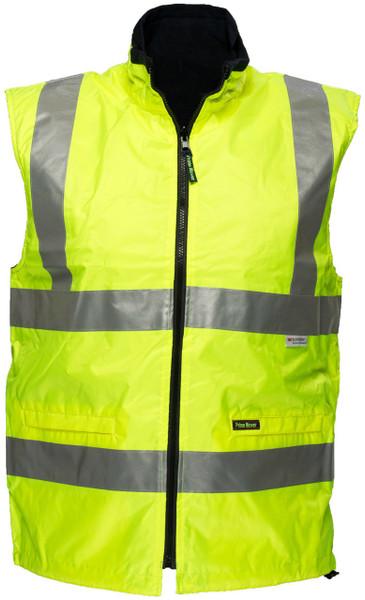 Hi Vis Reversible Waterproof Vest YLW 3M Reflective (XLarge)