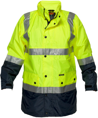 Long Wet Weather Jacket YLW/NVY 3M Reflective (XLarge)