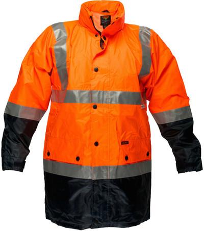 Long Wet Weather Jacket ORG/NVY 3M Reflective (XLarge)