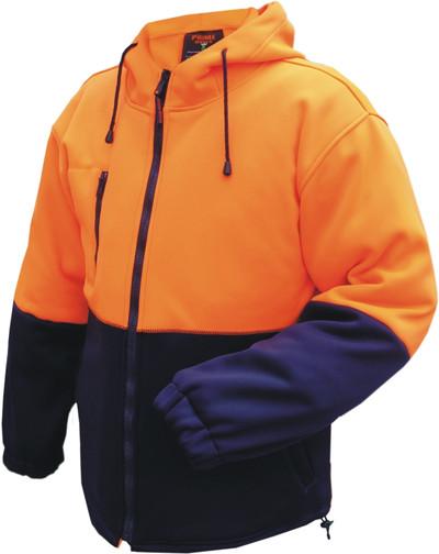 Full Zip D/Layer Water Repellent Fleece Hoodie  ORG/NVY (XLarge)