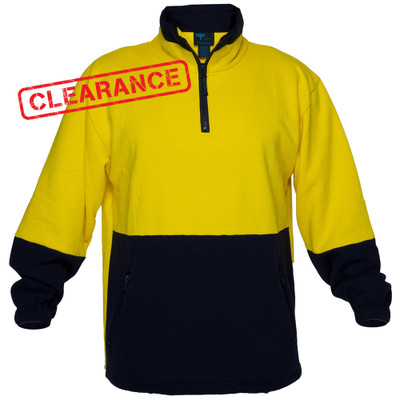 Hi Vis Cotton 1/4 Zip Fleece YLW/NVY A/Pill A/Static (Large)