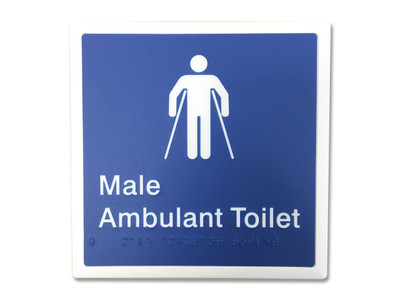 MALE AMBULANT 200x200 Braille Sign Blue/White