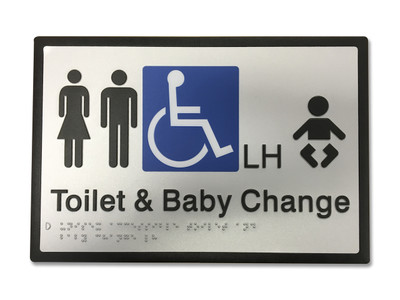 UNISEX ACCESSIBLE BABY CHANGE LH Braille 296x200 Silver/Black