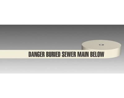 U/Ground Tape DANGER - BURIED SEWER MAIN BELOW 100mmx250m - PLAIN