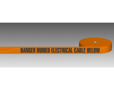 U/Ground Tape DANGER - BURIED ELECTRICITY MAIN BELOW 100mmx250m - DETECTABLE