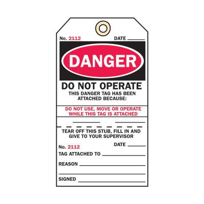 DO NOT OPERATE Cardstock Tearaway x100 - Keytag Hole (back is DO NOT REMOVE THIS TAG)