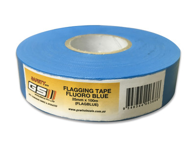 Flagging Tape Fluoro BLUE 25mm x 100m