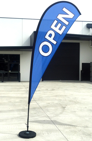 Teardrop flag OPEN Medium - BLUE (flag, pole & bag)