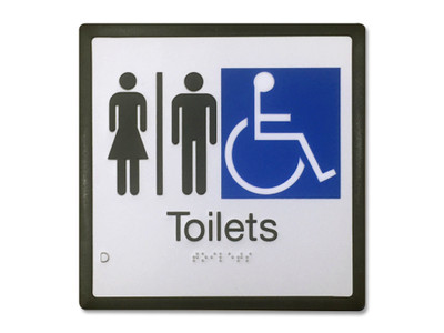 TOILETS M/F/D (Airlock or Corridor Entry) 200x200 Braille Sign Silver/Black