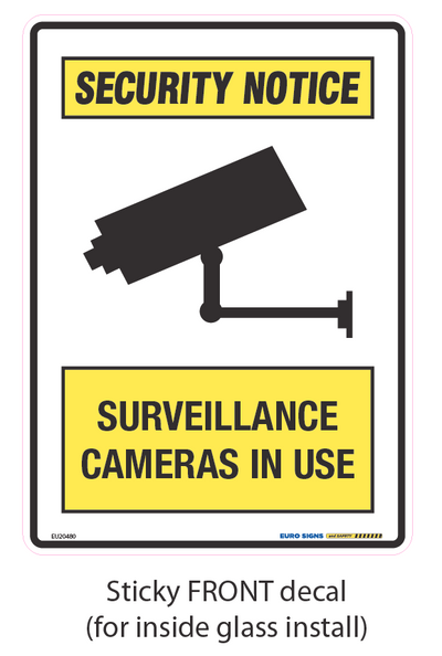 SURVEILLANCE CAMERAS IN USE - STICKY FRONT 180x250 DECAL