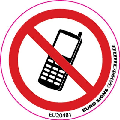 NO MOBILE PHONES 50MM DIA DECAL