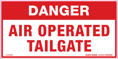 DANGER AIR OPERATED TAILGATE 150x75 DECAL