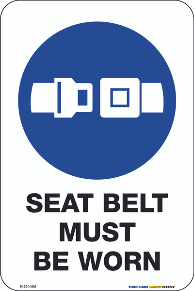 SEAT BELT MUST BE WORN 100x150 DECAL
