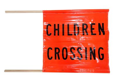 Children Crossing Flag x1 BLK/ORG d/sided 600x600 c/w x2 Dowell