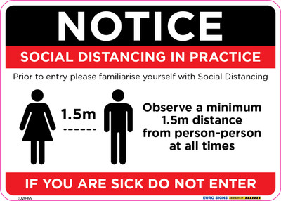 NOTICE SOCIAL DISTANCING 210x150 DECAL