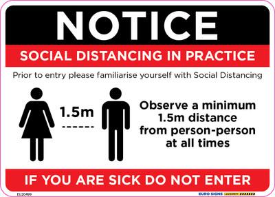 NOTICE SOCIAL DISTANCING 210x150 DECAL