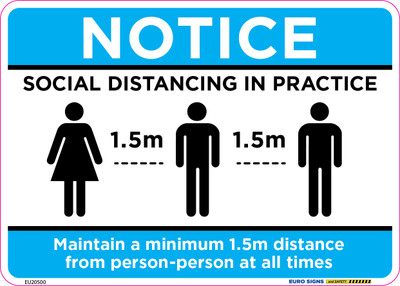 NOTICE SOCIAL DISTANCING V2 210x150 DECAL