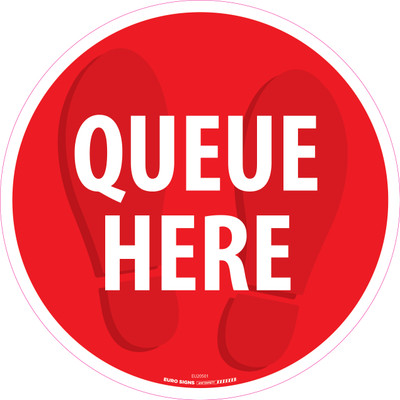 QUEUE HERE 430mm OD Floor Graphic Decal