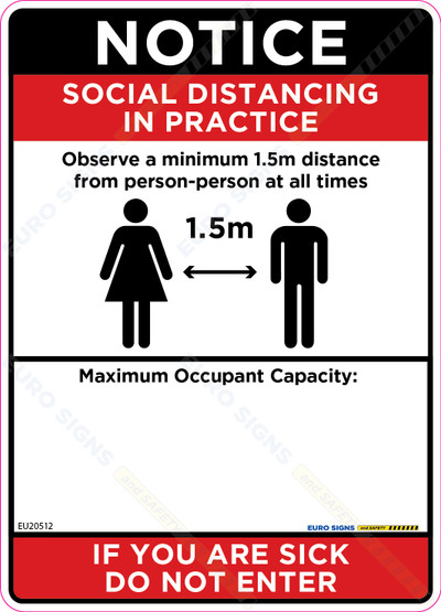 180x250 Social Distancing Max Capacity Decal