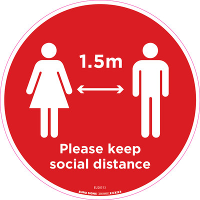 Please keep social distance 250mm OD Floor Graphic Decal