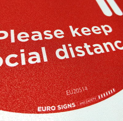Please keep social distance 250mm OD OUTDOOR Floor Graphic