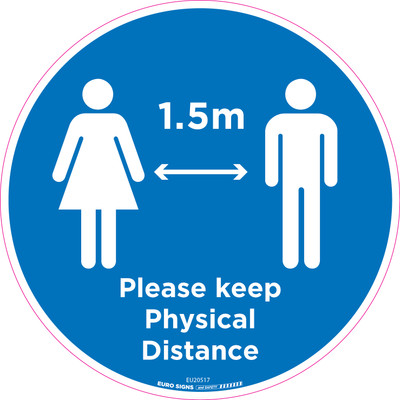 Please keep Physical Distance 250mm OD Floor Graphic Decal