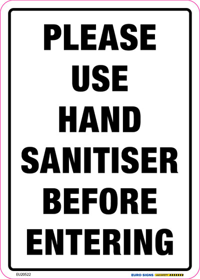 PLEASE USE HAND SANITISER 150x210 DECAL