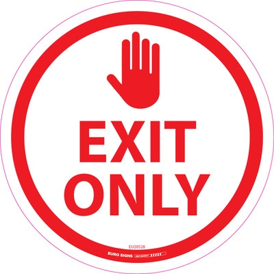 EXIT ONLY RED 250mm OD Floor Graphic Decal