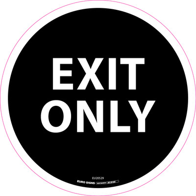 EXIT ONLY BLACK 250mm OD Floor Graphic Decal