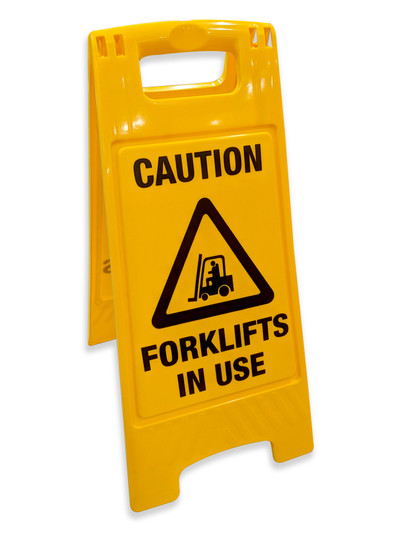 FORKLIFT IN USE A-Frame 300mm x 600mm plastic double sided
