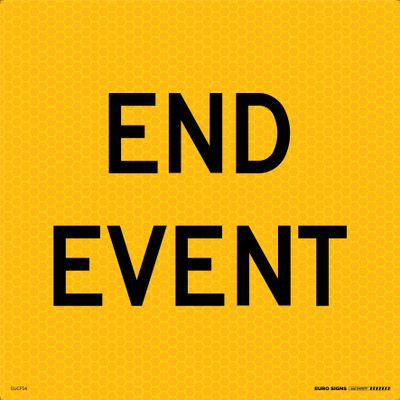 END EVENT 600x600 Corflute HI-INT BLK/YELLOW