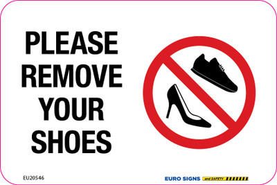 PLEASE REMOVE YOUR SHOES 150X100MM DECAL