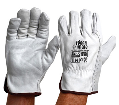 Riggamate Cow Grain Natural Grey GLOVES MEDIUM