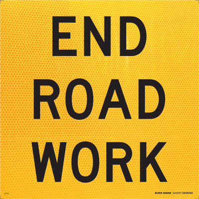 END ROAD WORK 600x600 Corflute HI-INT BLK/YELLOW