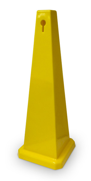 Floor Cone Blank 320mm base x 900mm high 4 sided Yellow plastic