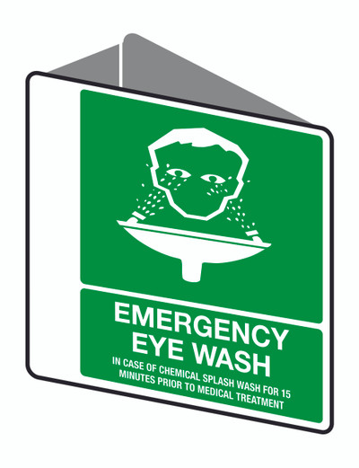 EMERGENCY EYE WASH - D/SIDED ' V ' POLY 225x225