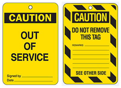 CAUTION OUT OF SERVICE - CARDSTOCK x100
