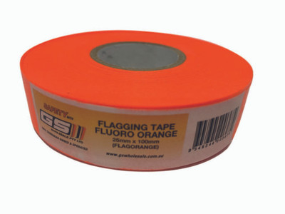 Flagging Tape Fluoro ORANGE 25mm x 100m