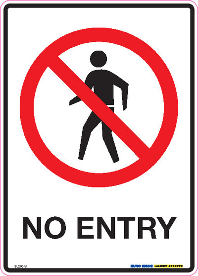 NO ENTRY 180x250 DECAL