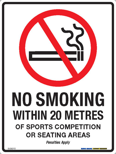NO SMOKING WITHIN 20 METRES OF SPORTS 225x300 MTL