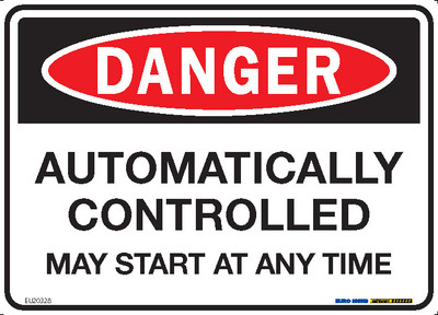DANGER AUTOMATICALLY CONTROLLED MAY START 250x180 DECAL