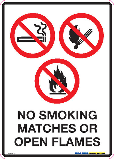 NO SMOKING MATCHES OR OPEN FLAMES 180x250 DECAL