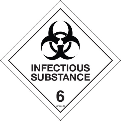 Class Label INFECTIOUS SUBSTANCE (custom biohazard) 100x100 DECAL