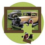 12 piece jigsaw puzzle with image of  two classic cars. Good activity for people living with dementia, such as Alzheimer's disease